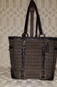 Coach Signature Tote Gray &Black